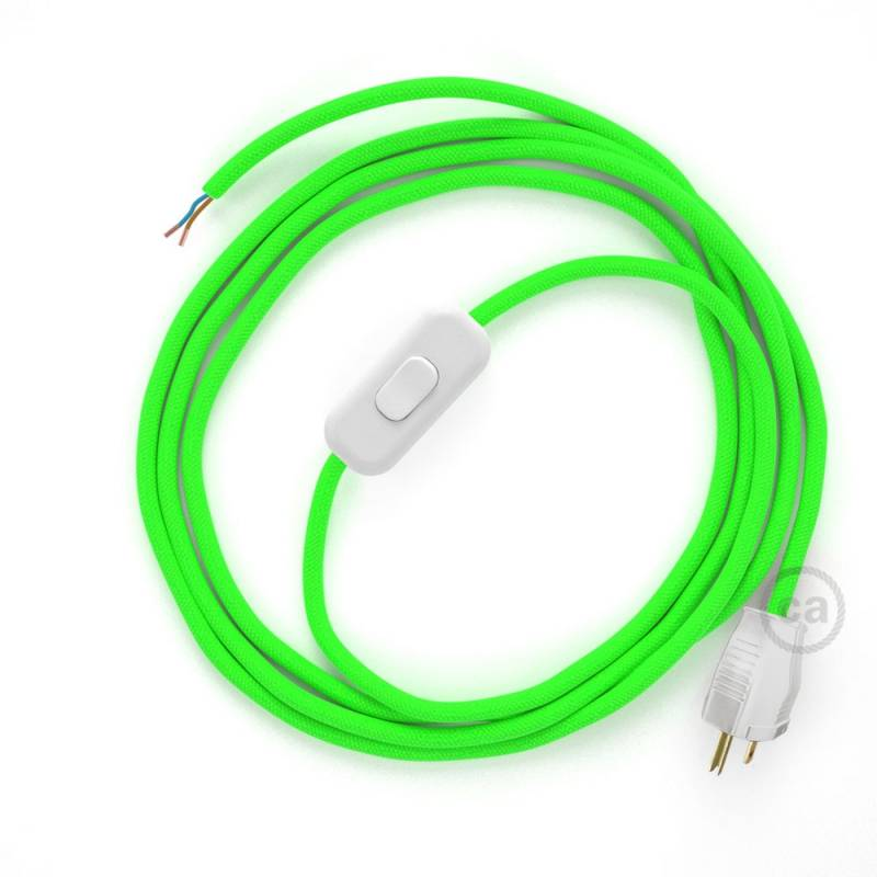 Power Cord with in-line switch, RF06 Neon Green - Choose color of switch/plug