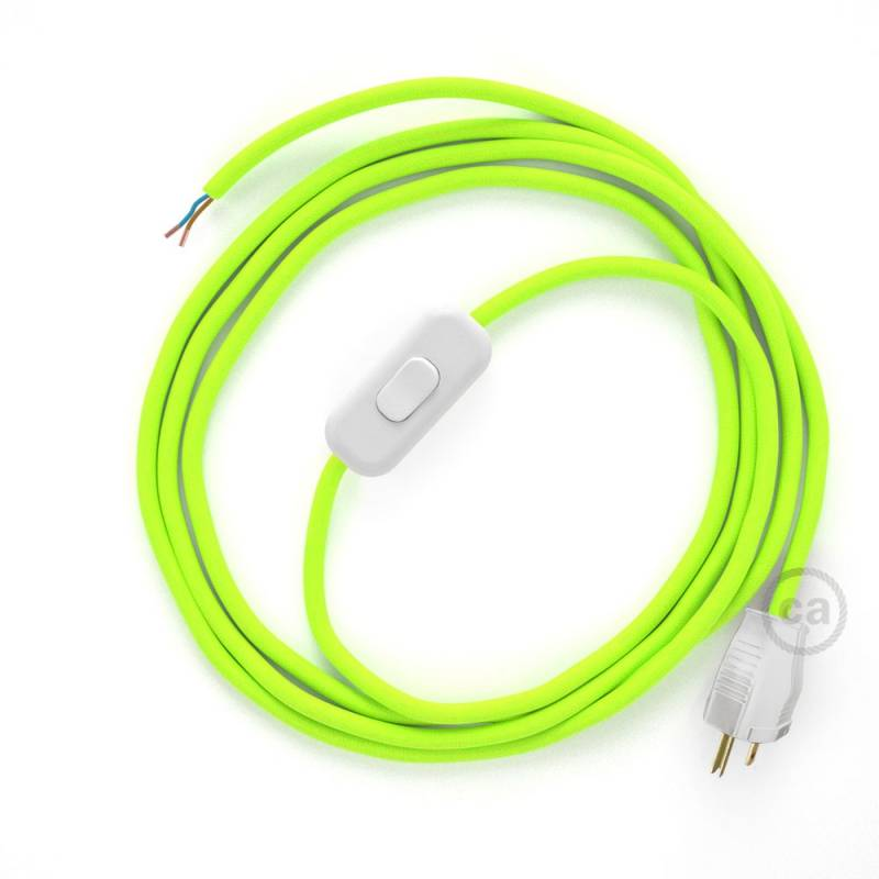 Power Cord with in-line switch, RF10 Neon Yellow - Choose color of switch/plug