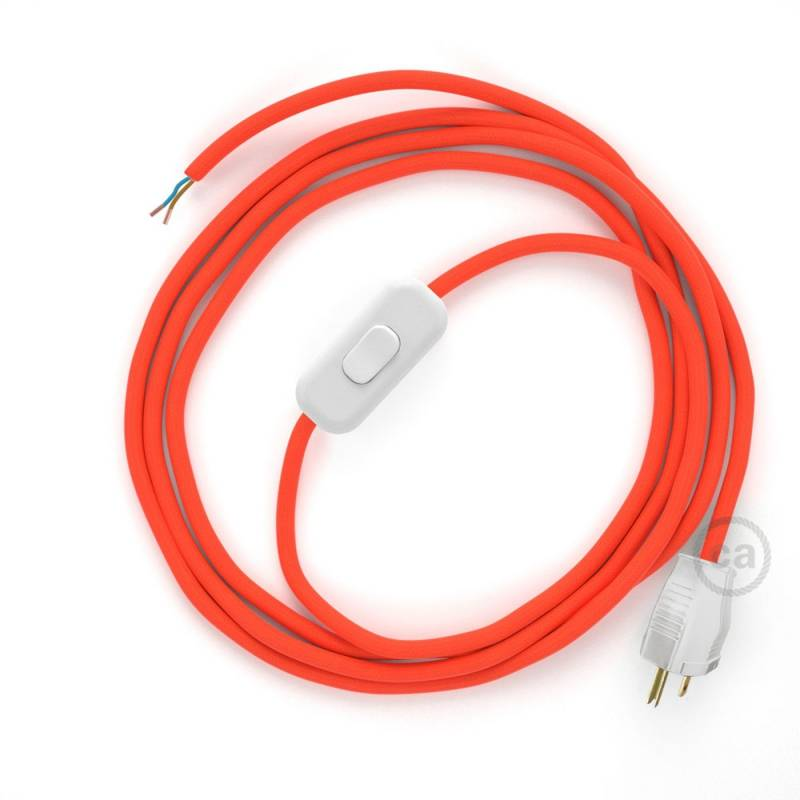 Power Cord with in-line switch, RF15 Neon Orange - Choose color of switch/plug