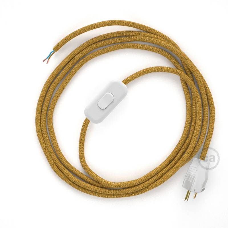 Power Cord with in-line switch, RL05 Gold Glitter - Choose color of switch/plug