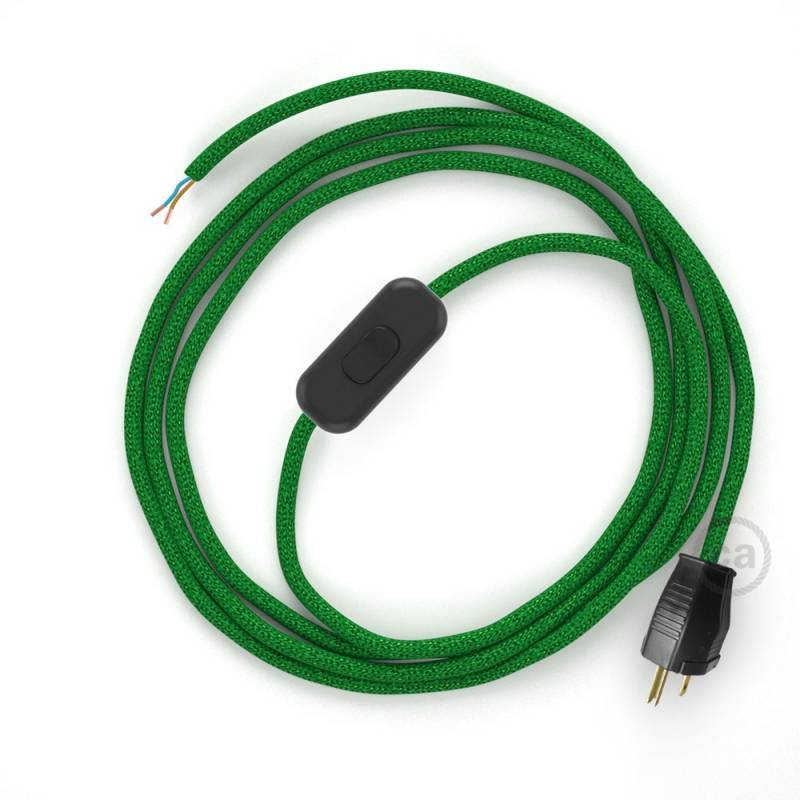Power Cord with in-line switch, RL06 Green Glitter - Choose color of switch/plug