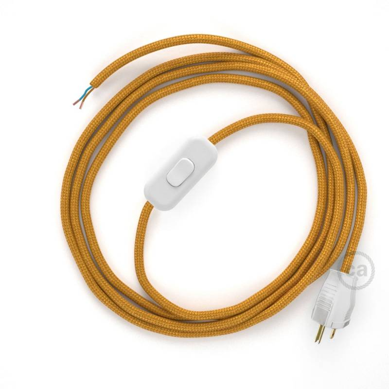 Power Cord with in-line switch, RM05 Gold Rayon - Choose color of switch/plug