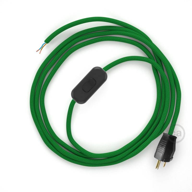 Power Cord with in-line switch, RM06 Green Rayon - Choose color of switch/plug
