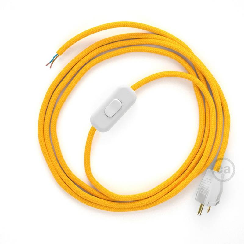 Power Cord with in-line switch, RM10 Yellow Rayon - Choose color of on