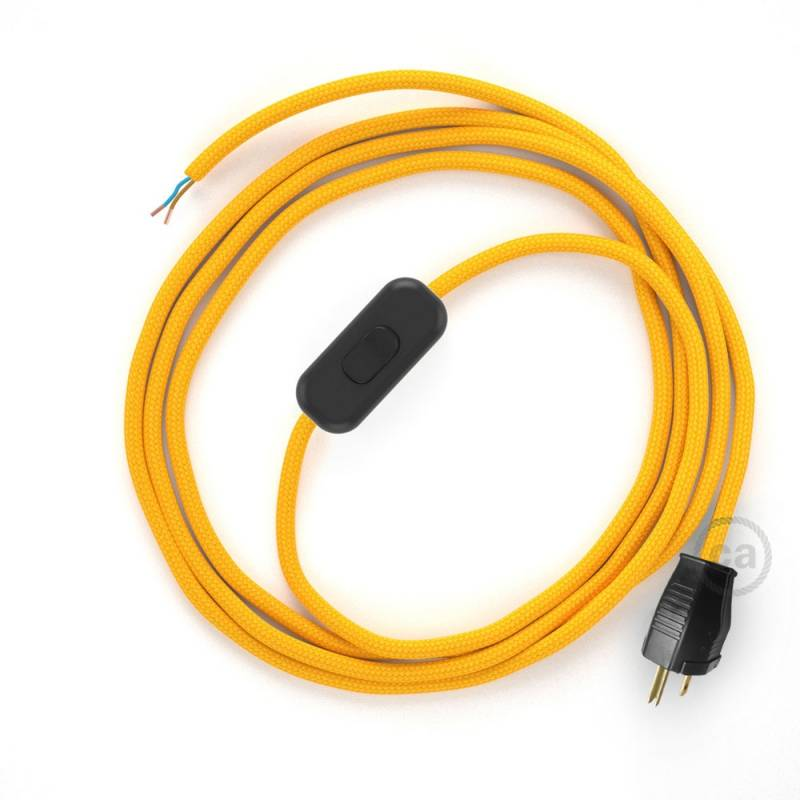 Power Cord with in-line switch, RM10 Yellow Rayon - Choose color of switch/plug