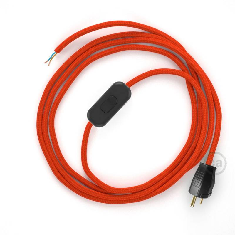 Power Cord with in-line switch, RM15 Orange Rayon - Choose color of switch/plug
