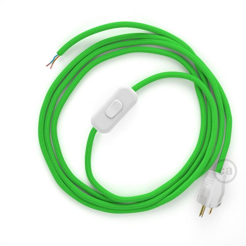 Power Cord with in-line switch, RM18 Lime Green Rayon - Choose color of switch/plug
