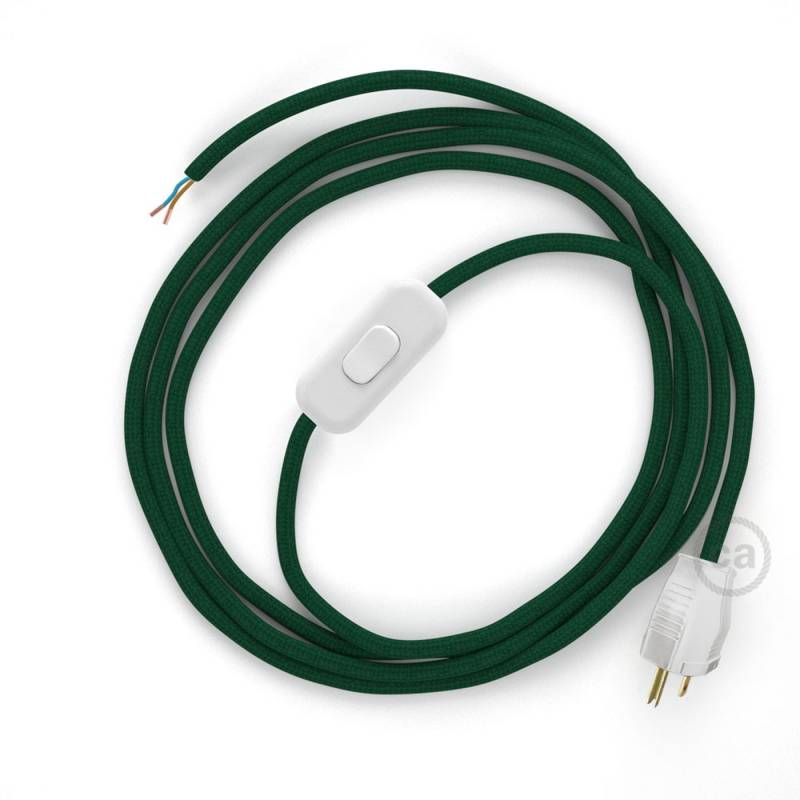 Power Cord with in-line switch, RM21 Emerald Rayon - Choose color of switch/plug
