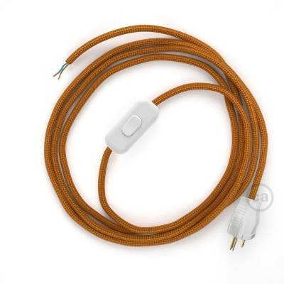Power Cord with in-line switch, RM22 Copper Rayon - Choose color of switch/plug