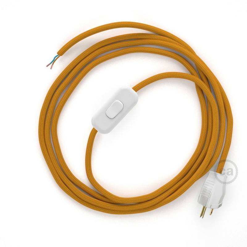 Power Cord with in-line switch, RM25 Mustard Rayon - Choose color of switch/plug