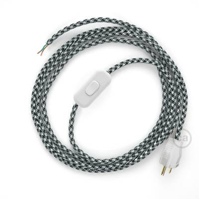 Power Cord with in-line switch, RP04 Black & White Houndstooth - Choose color of switch/plug