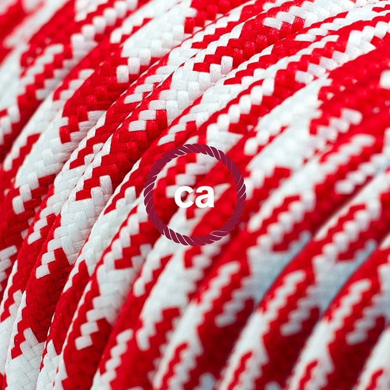 Power Cord with in-line switch, RP09 Red & White Houndstooth - Choose color of switch/plug