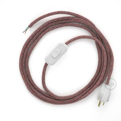 Power Cord with in-line switch, RS83 Red Glitter Cotton & Natural Linen Tweed - Choose color of switch/plug