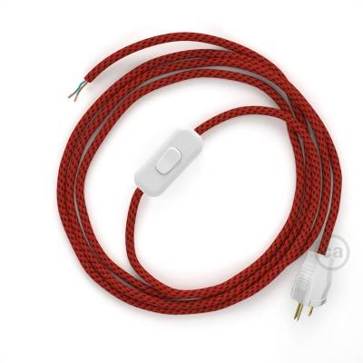 Power Cord with in-line switch, RT94 Red & Black Tracer - Choose color of switch/plug