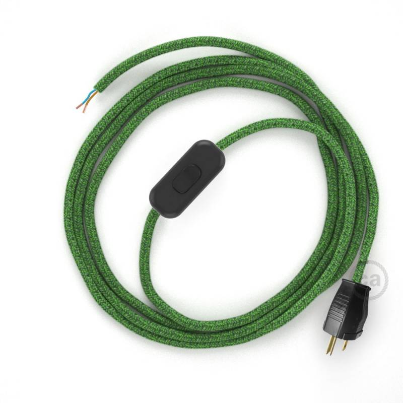 Power Cord with in-line switch, RX08 Green Cotton Tweed - Choose color of switch/plug