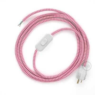 Power Cord with in-line switch, RZ08 Fuchsia & White Chevron - Choose color of switch/plug