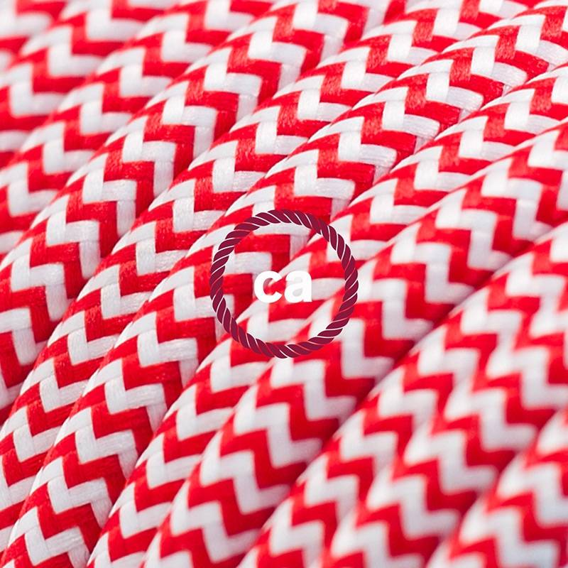 Power Cord with in-line switch, RZ09 Red & White Chevron - Choose color of switch/plug