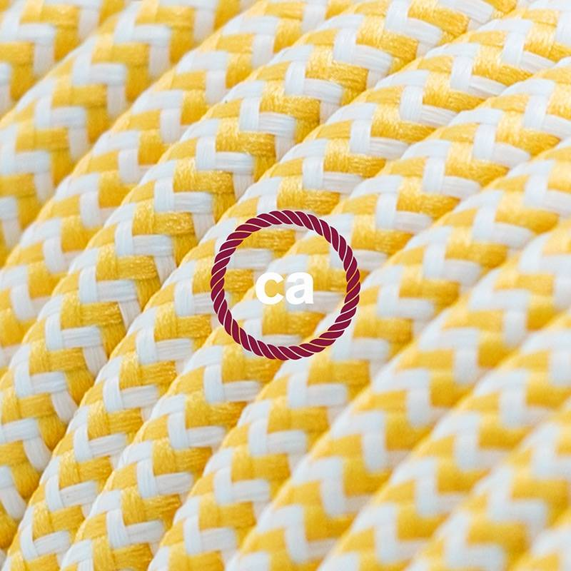 Power Cord with in-line switch, RZ10 Yellow & White Chevron - Choose color of switch/plug
