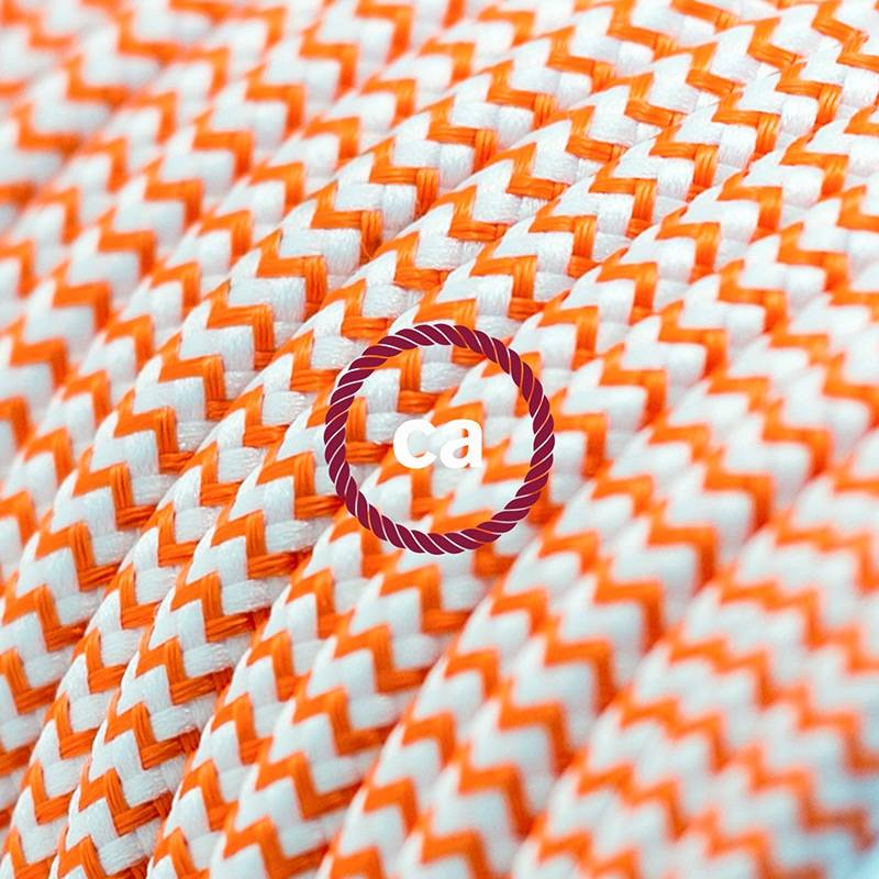 Power Cord with in-line switch, RZ15 Orange & White Chevron - Choose color of switch/plug