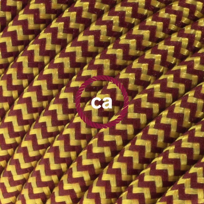 Power Cord with in-line switch, RZ23 Gold & Burgundy Rayon Chevron - Choose color of switch/plug