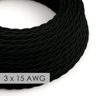 Extension Cord - Twisted Black Rayon TM04 - 15/3 AWG