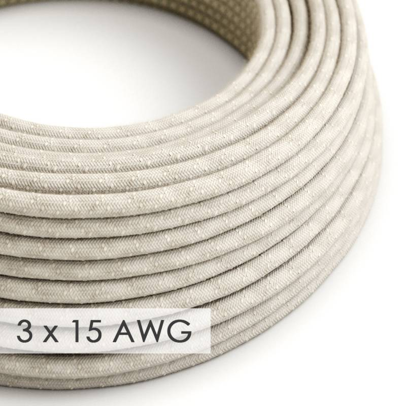 Extension Cord - Round Natural Linen RN01 - 15/3 AWG