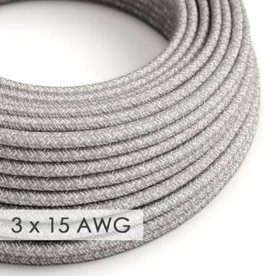 Extension Cord - Round Gray Linen RN02 - 15/3 AWG