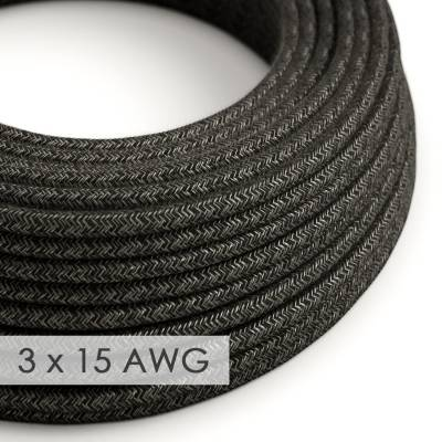 Extension Cord - Round Charcoal Linen RN03 - 15/3 AWG
