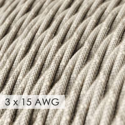 Extension Cord - Twisted Natural Linen TN01 - 15/3 AWG