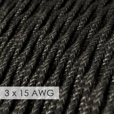 Extension Cord - Twisted Charcoal Linen TN03 - 15/3 AWG
