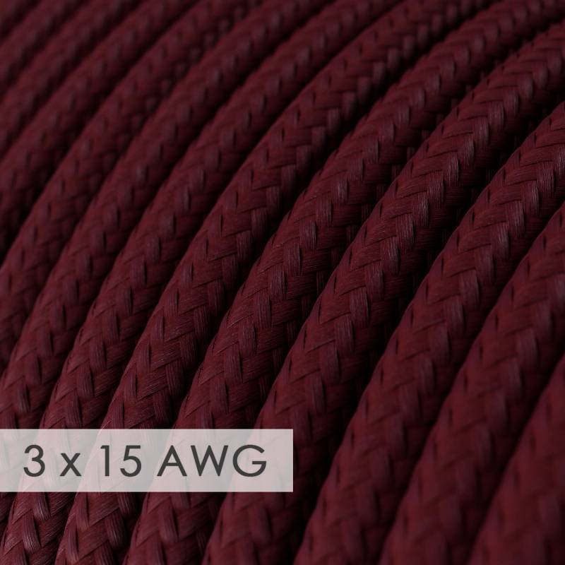 Extension Cord - Round Burgundy Rayon RM19 - 15/3 AWG