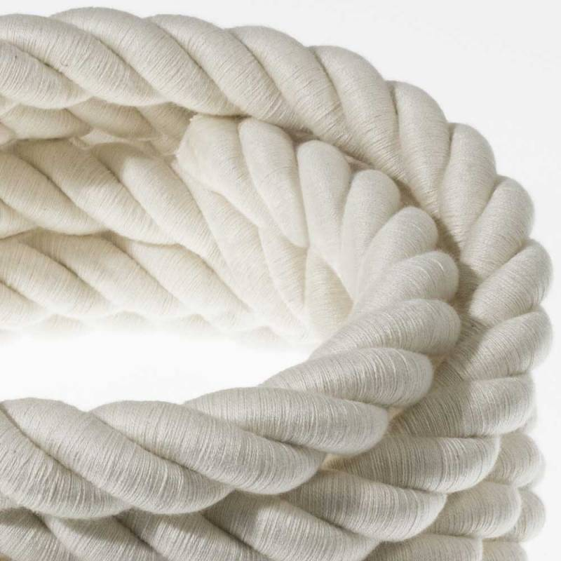 2XL Rope electrical wire 18/3 AWG wire inside. Raw Cotton Fabric. 24mm.