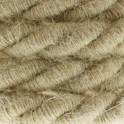 XL Rope electrical wire 18/3 AWG wire inside. Rough Jute Fabric covering. 16mm.