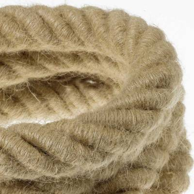 3XL Rope electrical wire 18/3 AWG wire inside. Rough Jute Fabric. 30mm.