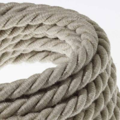 XL Rope electrical wire 18/3 AWG wire inside. Natural Linen Fabric. 16mm.