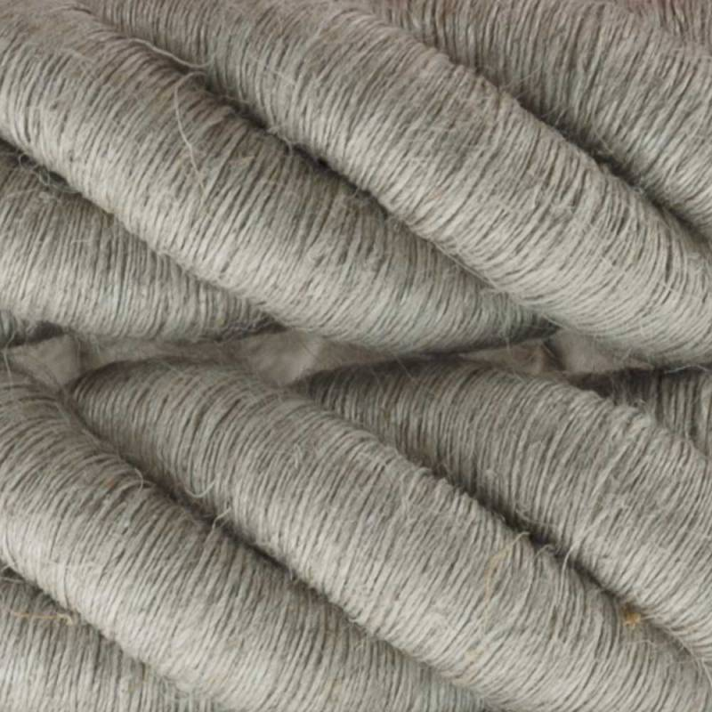 3XL Rope electrical wire 18/3 AWG wire inside. Natural Linen Fabric. 30mm.