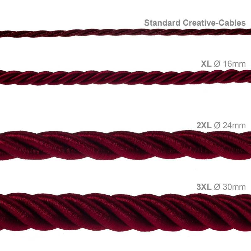 XL Rope electrical wire 18/3 AWG wire inside. Shiny Dark Bordeaux Fabric. 16mm.