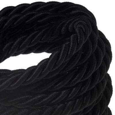 XL Rope electrical wire 18/3 AWG wire inside. Shiny Black Fabric. 16mm.