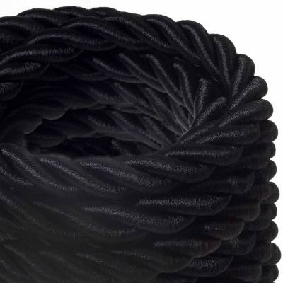 2XL Rope electrical wire 18/3 AWG wire inside. Shiny Black Fabric. 24mm.