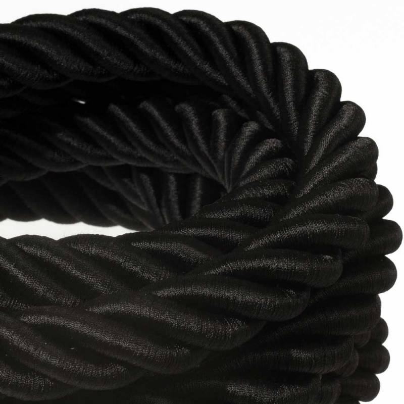 3XL Rope electrical wire 18/3 AWG wire inside. Shiny Black Fabric. 30mm.