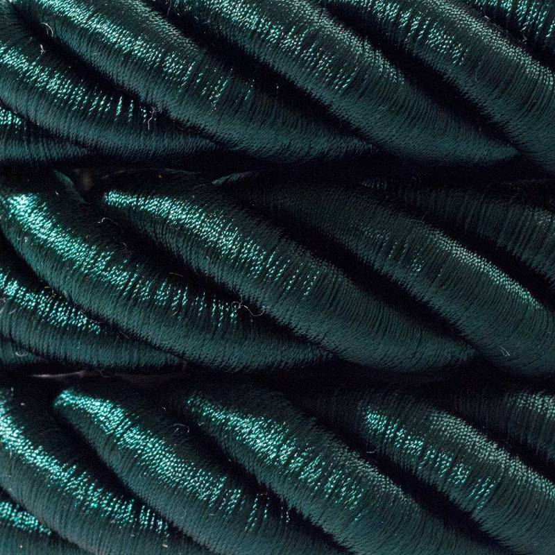 2XL Rope electrical wire 18/3 AWG wire inside. Shiny Dark Green Fabric. 24mm.