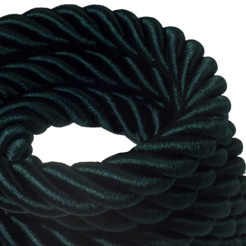 3XL Rope electrical wire 18/3 AWG wire inside. Shiny Dark Green Fabric. 30mm.