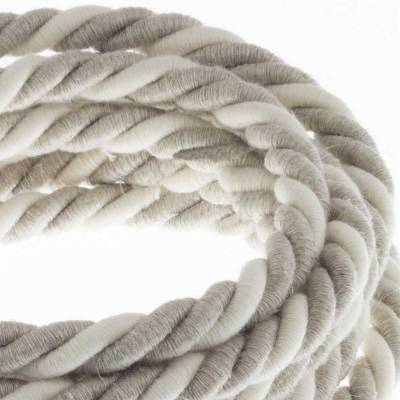 XL Rope electrical wire 18/3 AWG wire inside. Natural Linen and Raw Cotton Fabric. 16mm.