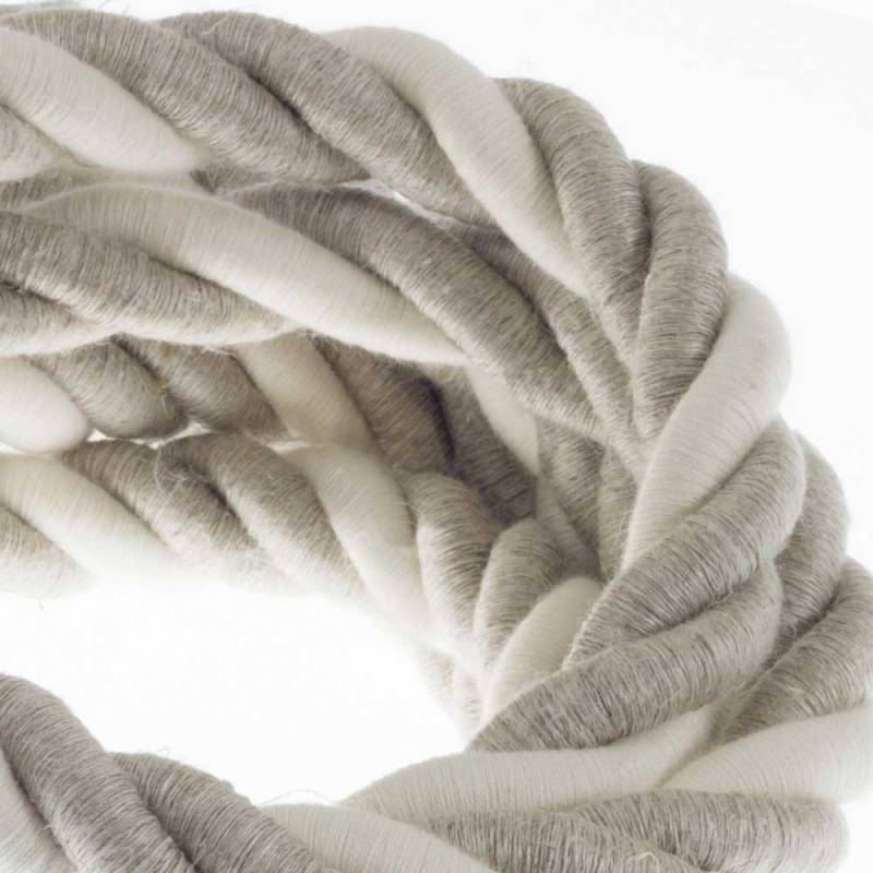 2XL Rope electrical wire 18/3 AWG wire inside. Natural Linen and Raw Cotton Fabric. 24mm.