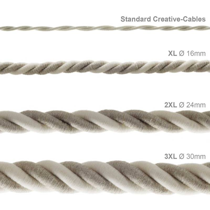 3XL Rope electrical wire 18/3 AWG wire inside. Natural Linen and Raw Cotton Fabric. 30mm.