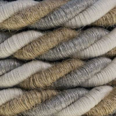 XL Rope electrical wire 18/3 AWG wire inside. Natural linen, cotton fabric and jute covering Country. 16mm.