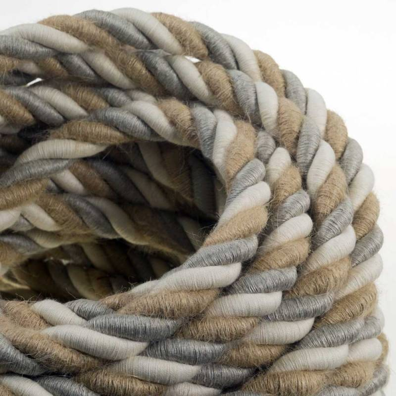 2XL Rope electrical wire 18/3 AWG wire inside. Natural linen, cotton fabric and jute covering Country. 24mm.