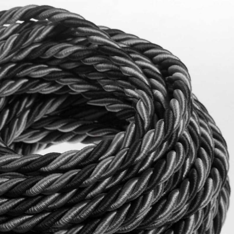 XL Rope electrical wire 18/3 AWG wire inside. Bright fabric covering Orleans. 16mm.