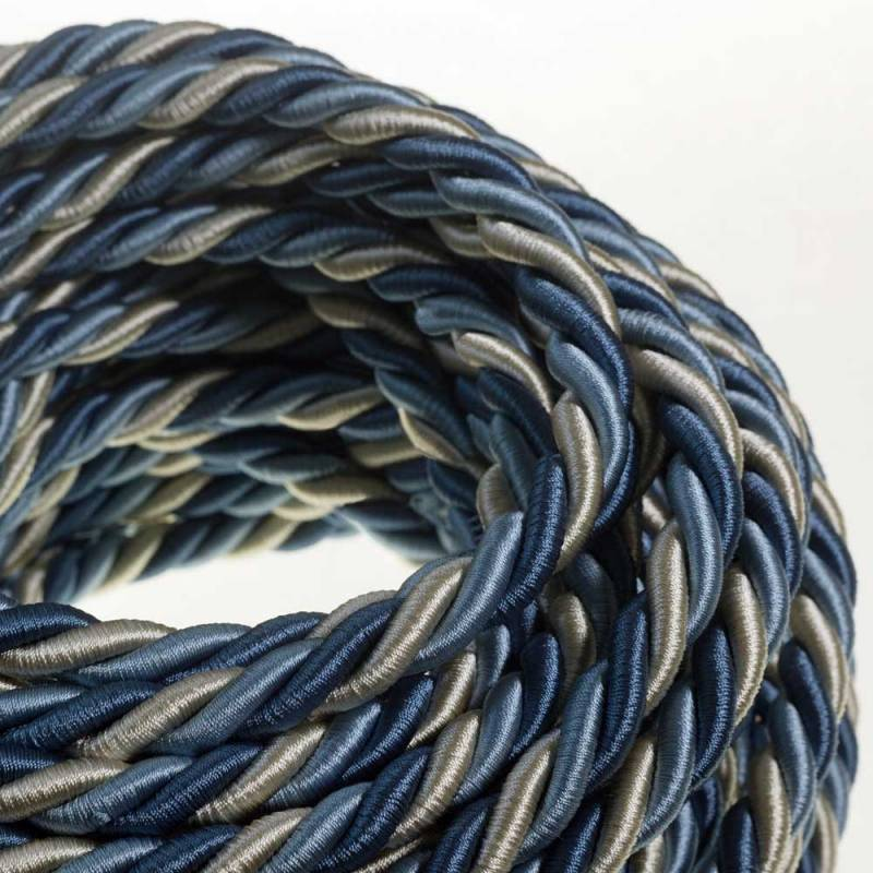 XL Rope electrical wire 18/3 AWG wire inside. Bright fabric covering Bernadotte. 16mm.