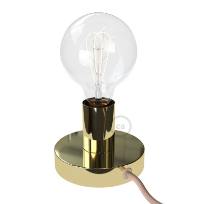Posaluce, the brass metal table lamp, with textile cable, switch and plug